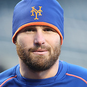 Daniel Murphy, New York Mets, during warm up before the MLB NLCS Playoffs game two, Chicago Cubs vs New York Mets at Citi Field, Queens, New York. USA. 18th October 2015. Photo Tim Clayton