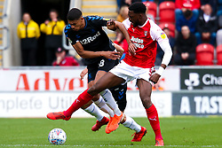 Semi Ajayi of Rotherham United holds off pressure from Ashley Fletcher of Middlesbrough - Mandatory by-line: Ryan Crockett/JMP - 05/05/2019 - FOOTBALL - Aesseal New York Stadium - Rotherham, England - Rotherham United v Middlesbrough - Sky Bet Championship