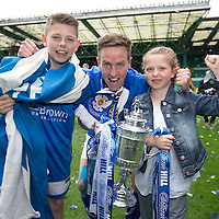 St Johnstone v Dundee United....17.05.14   William Hill Scottish Cup Final<br /> Steven MacLean with the trophy and children son Luke and daughter<br /> Picture by Graeme Hart.<br /> Copyright Perthshire Picture Agency<br /> Tel: 01738 623350  Mobile: 07990 594431