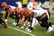 The Cincinnati Bengals defensive line gets set at the line of scrimmage opposite the Baltimore Ravens offensive line during the NFL week 11 regular season football game against the Baltimore Ravens on Sunday, Nov. 18, 2018 in Baltimore. The Ravens won the game 24-21. (©Paul Anthony Spinelli)
