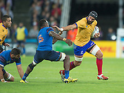 London, Great Britain, Attacking with th e the ball, Valentin URSACHE,  handing off, Yannick NYANGA, during a Pool D game,     France vs Romania. 2015 Rugby World Cup. Venue. The Stadium Queen Elizabeth Olympic Park. Stratford. East London. England,, Wednesday  23/09/2015. <br /> [Mandatory Credit; Peter Spurrier/Intersport-images]