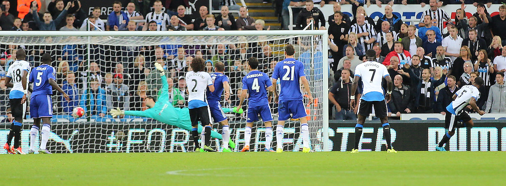 Newcastle United v Chelsea English Premiership 26 September 2015; Georginio Wijnaldum (Newcastle, 5) scores with a near post header during the Newcastle v Chelsea English Premiership match played at St. James' Park, Newcastle; <br /> <br /> &copy; Chris McCluskie | SportPix.org.uk