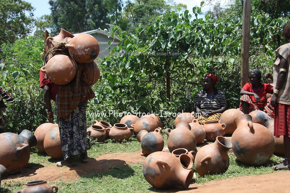 Ethiopia. Omo Valley, Bana Tribe Market Terracota pots