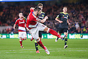 Middlesbrough forward, on loan from Valencia, Alvaro Negredo (10)  with a shot saved by Chelsea goalkeeper Thibaut Courtois (13)  during the Premier League match between Middlesbrough and Chelsea at the Riverside Stadium, Middlesbrough, England on 20 November 2016. Photo by Simon Davies.