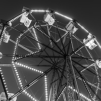 Newport Beach Ferris Wheel black and white photo. The Balboa Fun Zone Ferris Wheel is a popular attraction in Orange County Southern California in the United States of America. Photo is high resolution. Copyright ⓒ 2017 Paul Velgos with All Rights Reserved.