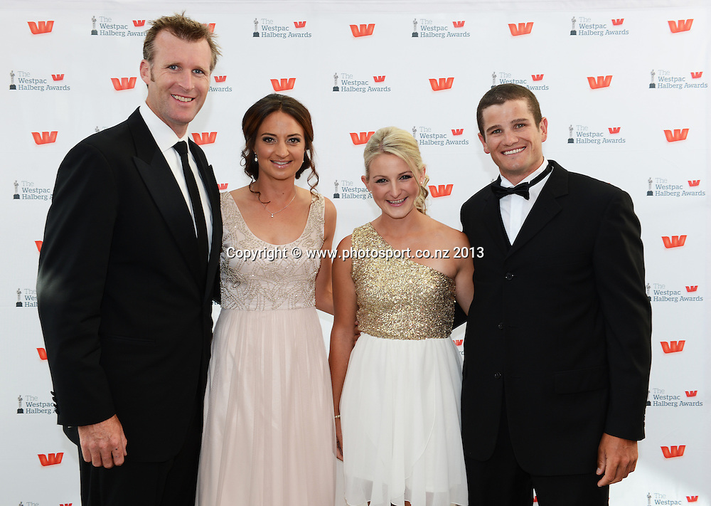 Mahe Drysdale, Juliette Haigh, Jackie Hughson and Nathan Cohen pose for a picture on the red carpet ahead of the Westpac Halberg Awards for 2012 at Vector Arena, Auckland, New Zealand on Thursday 14 February 2013. Photo: Andrew Cornaga / photosport.co.nz