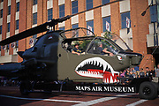 Aug 3, 2019; Canton, OH, USA; Helicopter from the Military Aviation Preservation Society (MAPS) Air Museum during the Pro Football Hall of Fame Grand Parade on Cleveland Ave. in Downtown Canton. (Robin Alam/Image of Sport)