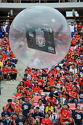 BANGKOK, THAILAND - Sunday, July 28, 2013: A Standard Chartered Credit Card in a ball during a preseason friendly match between Liverpool and Thailand at the Rajamangala National Stadium. (Pic by David Rawcliffe/Propaganda)