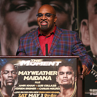 Mayweather Promotions CEO Leonard Ellerbe speaks during the undercard final press conference for the Mayweather & Maidana boxing match at the Hollywood Theater, inside the MGM Grand hotel on Thursday, May 1, 2014 in Las Vegas, Nevada.  (AP Photo/Alex Menendez)