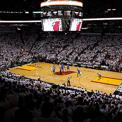 Jun 21, 2012; Miami, FL, USA; Miami Heat tip off against the Oklahoma City Thunder during the first quarter in game five in the 2012 NBA Finals at the American Airlines Arena. Mandatory Credit: Derick E. Hingle-US PRESSWIRE