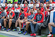 Seville Manager Unai Emery on the bench during the Pre-Season Friendly match between Brighton and Hove Albion and Sevilla at the American Express Community Stadium, Brighton and Hove, England on 2 August 2015. Photo by Bennett Dean.