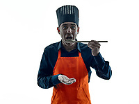 one caucasian man cooking chef silhouette isolated on white background