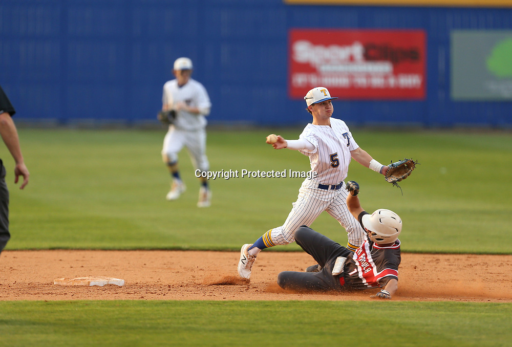 Adam Robison   BUY AT PHOTOS.DJOURNAL.COM<br /> Tupelo shortstop Stephen Matthews throws to first after getting the out at second on South Panola baserunner Nathan Herron.