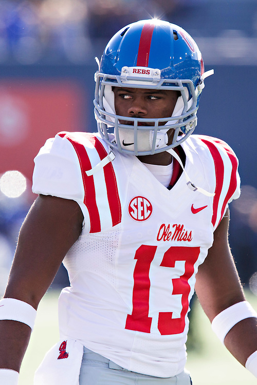 MEMPHIS, TN - OCTOBER 17:  Kailo Moore #13 of the Ole Miss Rebels warming up before a game against the Memphis Tigers at Liberty Bowl Memorial Stadium on October 17, 2015 in Memphis, Tennessee.  The Tigers defeated the Rebels 37-24.  (Photo by Wesley Hitt/Getty Images) *** Local Caption *** Kailo Moore