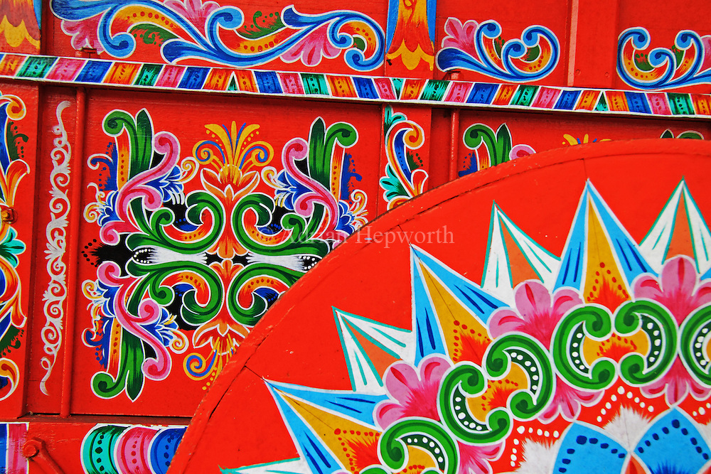 Painted oxcart at Joaquin Chaverri Oxcart factory, Sarch&iacute;, Costa Rica.<br />