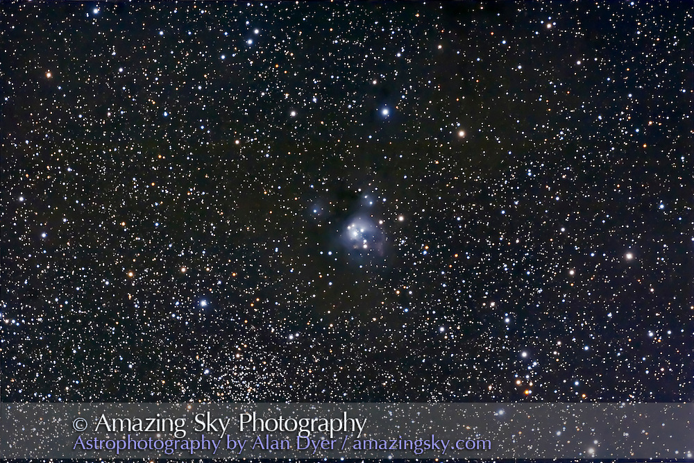 NGC 7129 reflection nebula, (with NGC 7133) and NGC 7142 cluster. Taken Oct 14, 2007 with 5-inch apo refractor at f/6 with Canon 20Da at ISO 800 for stack of 4 x 18 minute exposures. Some haze. Used PHDGuide and Meade DSI. Focus shifted thru exposures; back layers soft. One of the Finest NGC Objects.