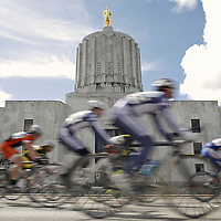 Collegiate cyclists compete in the criterium during the annual Capital Cup cycle races on Saturday, March 19, 2011. Along with the college cyclist, riders from the Oregon Bicycle Racing Association also competed on the .7-mile rectangular course around the Capital building.
