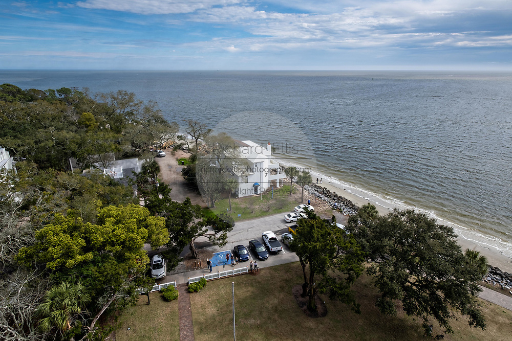 View of the Atlantic coast from the St. Simons Lighthouse at Coupers Point along the Saint Simons Sound in St. Simons Island, Georgia. The working lighthouse was built in first constructed in 1807 but destroyed by Confederate forces in 1862 before being rebuilt in 1872.