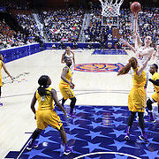 Breanna Stewart, UConn, hits a jump shot for two points  during the UConn Huskies Vs East Carolina Pirates Quarter Final match at the  2016 American Athletic Conference Championships. Mohegan Sun Arena, Uncasville, Connecticut, USA. 5th March 2016. Photo Tim Clayton