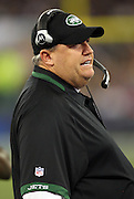 New York Jets Head Coach Rex Ryan calls out during the NFL football game against the Buffalo Bills, December 3, 2009 in Toronto, Canada. The Jets won the game 19-13. ©Paul Anthony Spinelli