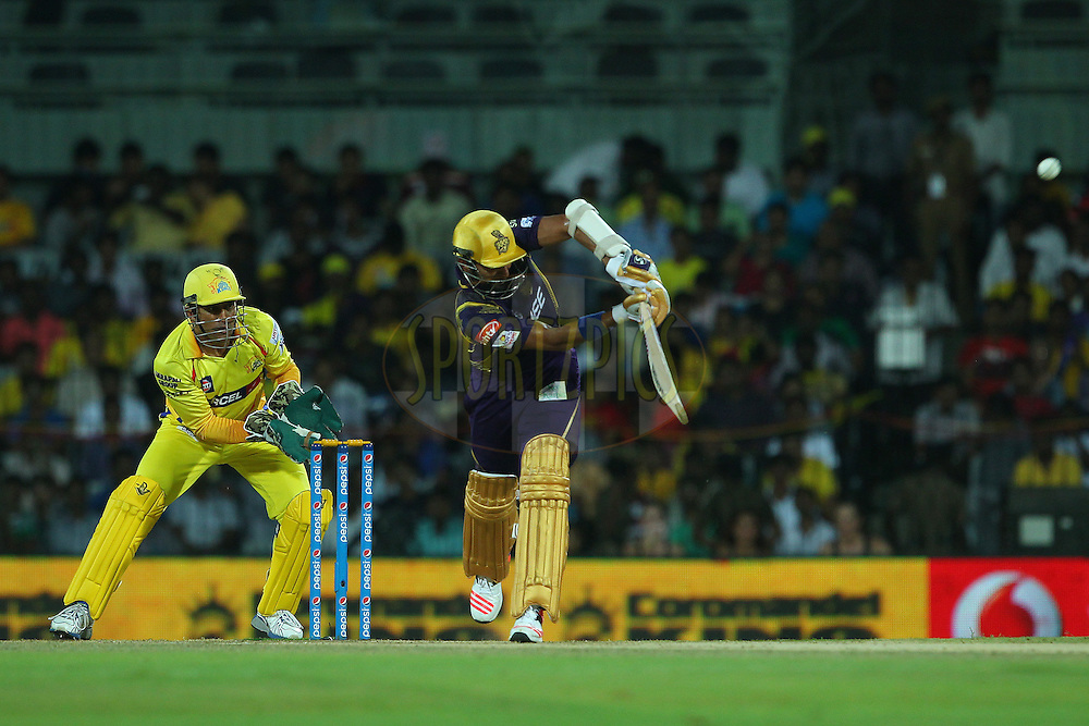 Robin Uthappa of the Kolkata Knight Riders  during match 28 of the Pepsi IPL 2015 (Indian Premier League) between The Chennai Superkings and The Kolkata Knight Riders held at the M. A. Chidambaram Stadium, Chennai Stadium in Chennai, India on the 28th April 2015.<br /> <br /> Photo by:  Ron Gaunt / SPORTZPICS / IPL