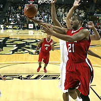 Louisiana's forward La'Ryan Gary (21) drives to the net at the UCF Arena on December 15, 2010 in Orlando, Florida. UCF won the game79-58. (AP Photo/Alex Menendez)