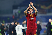 Nicolo' Zaniolo of Roma greets his supporters at the end of the UEFA Europa League, Group J football match between AS Roma and Wolfsberg AC on December 12, 2019 at Stadio Olimpico in Rome, Italy - Photo Federico Proietti / ProSportsImages / DPPI