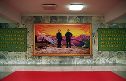 """Pyonyang, North Korea, April/May 2004. Art gallery in Pyongyang. Painting of """"Eternal President"""" Kim Sung Il and his son General Kim Jung Il. (Photo by Teun Voeten) *** Please Use Credit from Credit Field ***"""