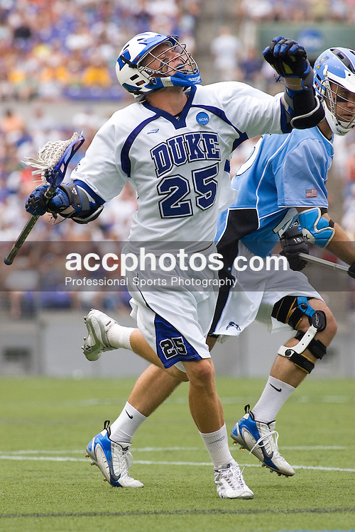 28 May 2007: Duke Blue Devils attackman Zack Greer (25) in a 11-12 loss to the Johns Hopkins Blue Jays at M&T Bank Stadium during the NCAA finals in Baltimore, MD.