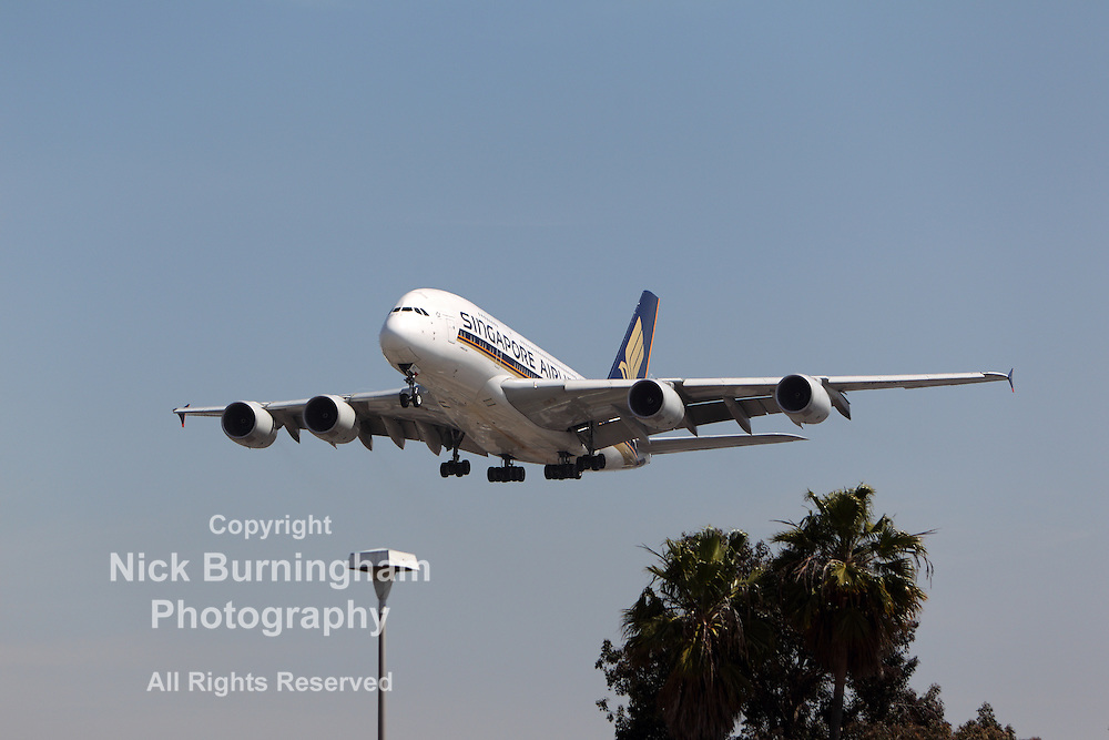 LOS ANGELES, CALIFORNIA, USA - MARCH 21, 2013 - Singapore Airlines Airbus A380-841 lands at Los Angeles Airport on March 21, 2013. It is the world's largest passenger airliner and seats 525 people.