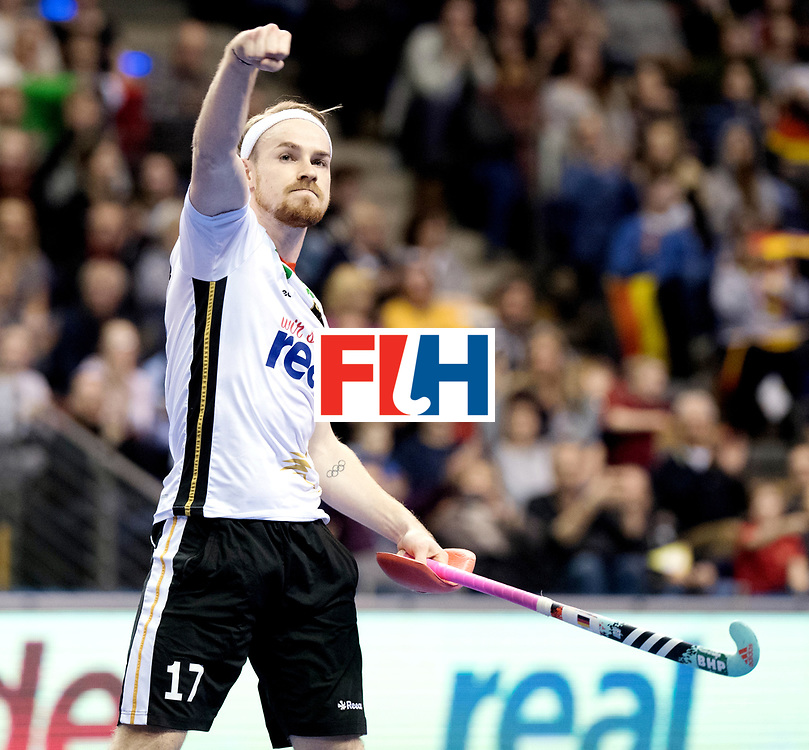 BERLIN - Indoor Hockey World Cup<br /> Quarterfinal 3: Germany - Switzerland<br /> foto: Christopher R&uuml;hr scores and celebrates.<br /> WORLDSPORTPICS COPYRIGHT FRANK UIJLENBROEK