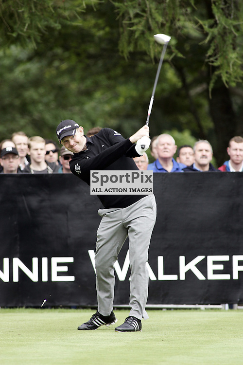 Stephen Gallacher scotland fires away his drive on the 1st tee of the johnnie walker championship at gleneagles picture kevin mcglynn/stockpix.eu
