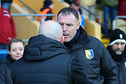 Mansfield Town Manager Graham Coughlan & Ian Holloway shake hands during the EFL Sky Bet League 2 match between Mansfield Town and Grimsby Town FC at the One Call Stadium, Mansfield, England on 4 January 2020.