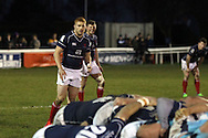 Connor Braid waits for the ball to leave the scrum during the Green King IPA Championship match between London Scottish &amp; Worcester at Richmond, Greater London on 20th December 2014<br /> <br /> Photo: Ken Sparks | UK Sports Pics Ltd<br /> London Scottish v Worcester, Green King IPA Championship, 20th December 2014<br /> <br /> &copy; UK Sports Pics Ltd. FA Accredited. Football League Licence No:  FL14/15/P5700.Football Conference Licence No: PCONF 051/14 Tel +44(0)7968 045353. email ken@uksportspics.co.uk, 7 Leslie Park Road, East Croydon, Surrey CR0 6TN. Credit UK Sports Pics Ltd