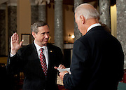 Nov 29, 2010 - Washington, District of Columbia, U.S. - Vice President JOE BIDEN swears in Sen.-Elect MARK KIRK, (R-IL) on Monday, during a re-enactment of the swearing-in at the Old Senate Chamber in the U.S. Capitol..(Credit Image: © Pete Marovich/ZUMA Press)