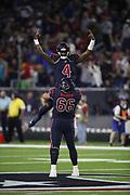 Houston Texans quarterback Deshaun Watson (4) in action during the NFL week 8 regular season football game against the Miami Dolphins on Thursday, Oct. 25, 2018 in Houston. The Texans won the game 42-23. (©Paul Anthony Spinelli)