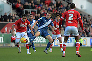 Birmingham City midfielder Maikel Kieftenbeld attempts to tackle Bristol City midfielder Korey Smith during the Sky Bet Championship match between Bristol City and Birmingham City at Ashton Gate, Bristol, England on 30 January 2016. Photo by Alan Franklin.