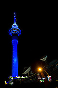 The famous Auckland landmark the Sky Tower photographed at night