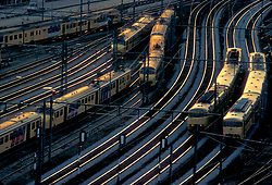 Aerial of Multiple Trains on Tracks