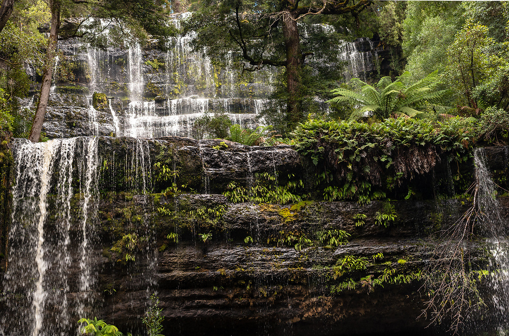 Waters of Russell falls cascade down a mountain in the Tasmanian rain forest