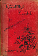 Robert Louis Stevenson (1850-94) 'Treasure Island' adventure novel for children first serialised as 'The Sea Cook: or, Treasure Island' in 'Young Folks' 1881-82 and in book form 1883. Cover of 1886 illustrated edition.