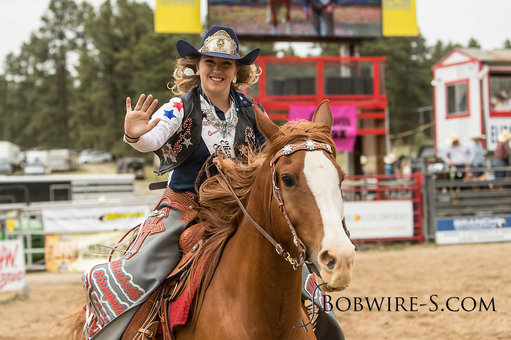 Queen Cassidy Esposito takes a lap of the arena during the third performance of the Elizabeth Stampede on Sunday, June 3, 2018.