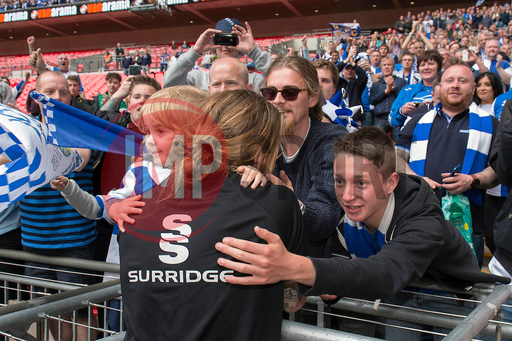 Bristol Rovers' Stuart Sinclair celebrates with fans - Photo mandatory by-line: Dougie Allward/JMP - Mobile: 07966 386802 - 17/05/2015 - SPORT - football - London - Wembley Stadium - Bristol Rovers v Grimsby Town - Vanarama Conference Football