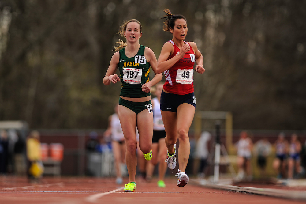 AMHERST, MA - MAY 4: Jennifer Nakamura of George Mason University (167) and Danica Snyder of Duquesne University (49) competes in the women's 5,000 meter run on Day 2 of the Atlantic 10 Outdoor Track and Field Championships at the University of Massachusetts Amherst Track and Field Complex on May 4, 2014 in Amherst, Massachusetts. (Photo by Daniel Petty/Atlantic 10)