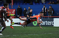 Greg Eden of Castleford Tigers dives over to score during the Pre-season Friendly match at Belle Vue, Wakefield<br /> Picture by Richard Land/Focus Images Ltd +44 7713 507003<br /> 15/01/2017