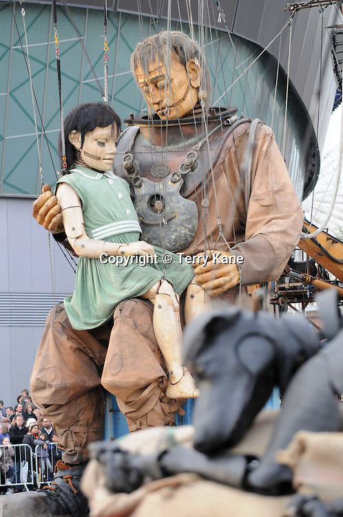 LIVERPOOL, UK:.The second day of the three-day Sea Odyssey Giant Spectacular street theatre event inspired by the sinking of the Titanic, on April 21, 2012 in Liverpool, England. .PHOTOGRAPH BY TERRY KANE / BARCROFT MEDIA LTD..UK Office, London..T: +44 845 370 2233.E: pictures@barcroftmedia.com.W: www.barcroftmedia.com..Australasian & Pacific Rim Office, Melbourne..E: info@barcroftpacific.com.T: +613 9510 3188 or +613 9510 0688.W: www.barcroftpacific.com..Indian Office, Delhi..T: +91 997 1133 889.W: www.barcroftindia.com