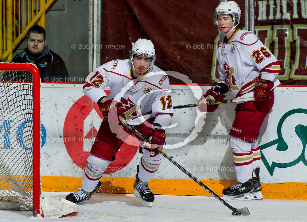 22 November 2014:  Luke McColgan (12) of the Chiefs, Evan MacEachern (26) of the Chiefs  during a game between the Chilliwack Chiefs and the Coquitlam Express at Prospera Centre, Chilliwack, BC.    ****(Photo by Bob Frid - All Rights Reserved 2014): mobile: 778-834-2455 : email: bob.frid@shaw.ca ****
