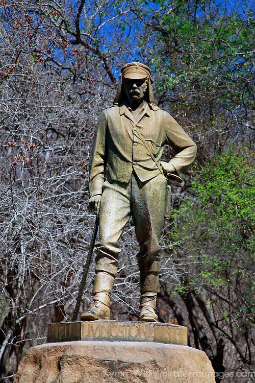 Africa, Zimbabwe, Victoria Falls. Statue of David Livingstone.