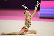 Dina Averina, Russia, during silver Medal winning club routine during the 33rd European Rhythmic Gymnastics Championships at Papp Laszlo Budapest Sports Arena, Budapest, Hungary on 21 May 2017. Her twin Arina took Gold. Photo by Myriam Cawston.
