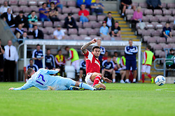 Coventry City's Billy Daniels challenges Bristol City's Marlon Pack   - Photo mandatory by-line: Dougie Allward/JMP - Tel: Mobile: 07966 386802 11/08/2013 - SPORT - FOOTBALL - Sixfields Stadium - Sixfields Stadium -  Coventry V Bristol City - Sky Bet League One